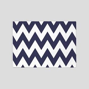 Blue and White Chevron Zig Zag 5'x7'Area Rug