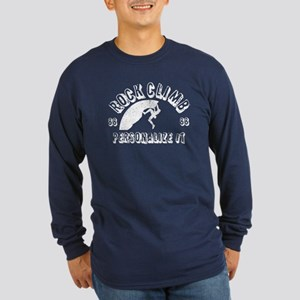 Personalized Rock Climb Long Sleeve Dark T-Shirt