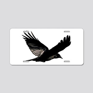Black Bird Flying Aluminum License Plate