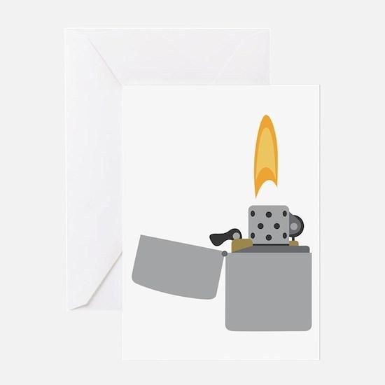 Cigarette Lighter Flame Greeting Cards