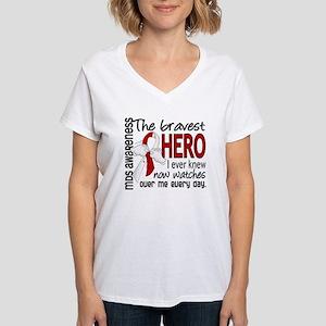 MDS Bravest Hero Women's V-Neck T-Shirt