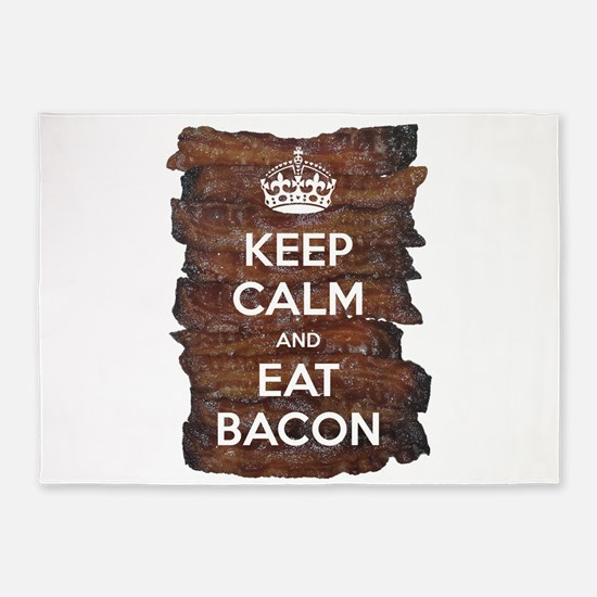 Keep Calm Eat Bacon 5'x7'Area Rug
