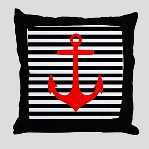 Red Anchor on Black and White Stripes Throw Pillow