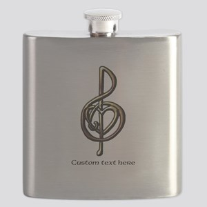 Treble Clef and Heart To Personalize for Mus Flask