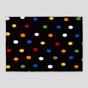 Black Disco Dots 5'x7'Area Rug