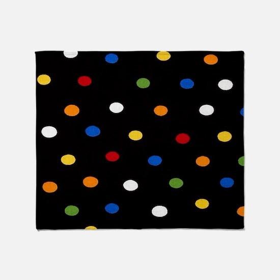 Black Disco Dots Throw Blanket
