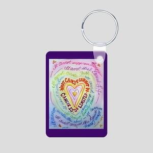 Rainbow Heart Cancer Aluminum Photo Keychain