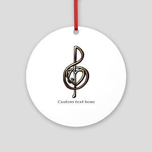 Music Treble Clef Embossed Look Cus Round Ornament