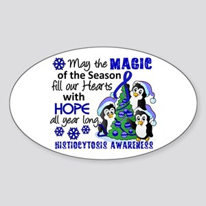 Histiocytosis Christmas Penguins Sticker (Oval)