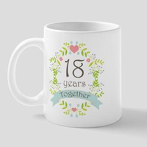 18th Anniversary flowers and hearts Mug