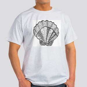 Scallop Black and White Beach Art Light T-Shirt