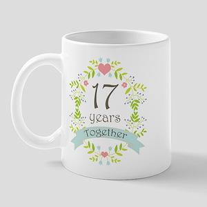 17th Anniversary flowers and hearts Mug