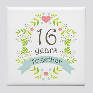 16th Anniversary flowers and hearts Tile Coaster