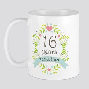 16th Anniversary flowers and hearts Mug