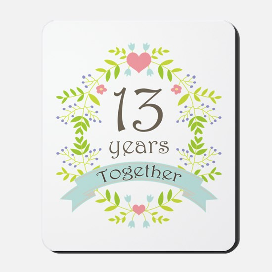 13th Anniversary flowers and hearts Mousepad