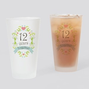 12th Anniversary flowers and hearts Drinking Glass