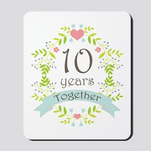 10th Anniversary flowers and hearts Mousepad