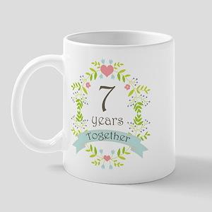 7th Anniversary flowers and hearts Mug