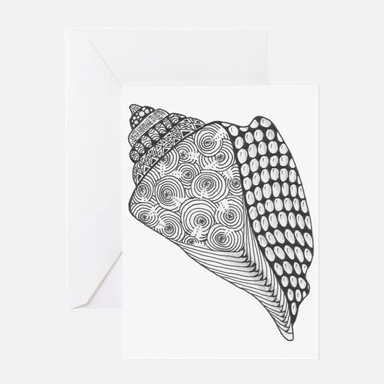 Unique Conch Shell Black and White D Greeting Card