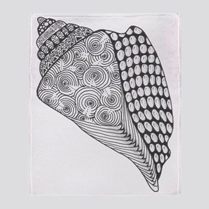 Unique Conch Shell Black and White D Throw Blanket