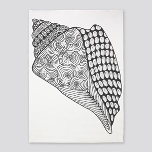 Unique Conch Shell Black and White  5'x7'Area Rug