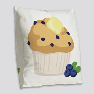 Blueberry Muffin Burlap Throw Pillow