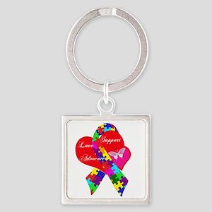 Interlaced Autism Ribbon Square Keychain