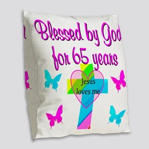 JESUS LOVE 65TH Burlap Throw Pillow