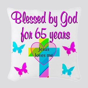 JESUS LOVE 65TH Woven Throw Pillow