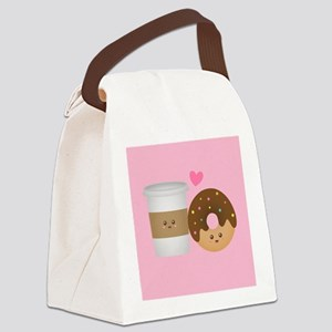 Cute Coffee and Donut in Love, Perfect Pair Canvas