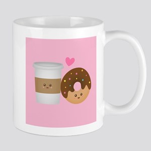 Cute Coffee and Donut in Love, Perfect Pair Mugs