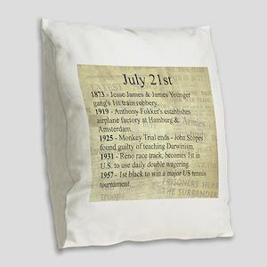 July 21st Burlap Throw Pillow