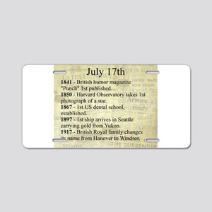 July 17th Aluminum License Plate