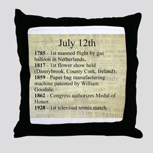 July 12th Throw Pillow