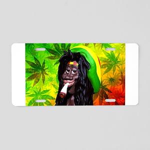 Rastaman Marijuana Caricature 3d Aluminum License