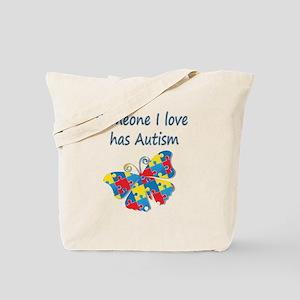 Someone I love has Autism (blue) Tote Bag