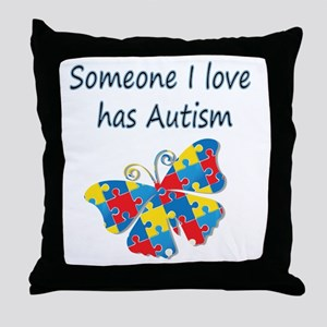 Someone I love has Autism (blue) Throw Pillow