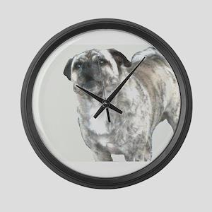 Barking Bully-No Background Large Wall Clock