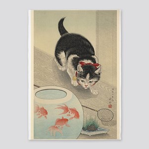 Cat, Goldfish,japanese, Vintage 5'x7'area Rug