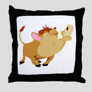 Funny Stubborn Wild Boar Throw Pillow