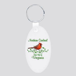 Cardinal Virginia Bird Aluminum Oval Keychain