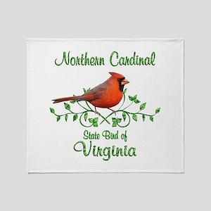 Cardinal Virginia Bird Throw Blanket