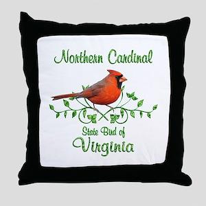 Cardinal Virginia Bird Throw Pillow