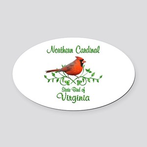 Cardinal Virginia Bird Oval Car Magnet