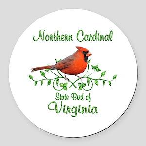 Cardinal Virginia Bird Round Car Magnet
