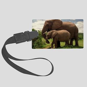 Wild elephants Large Luggage Tag