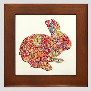 Colorful Floral Easter Bunny Framed Tile