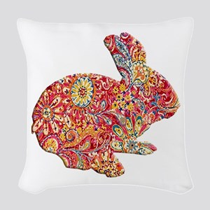 Colorful Floral Easter Bunny Woven Throw Pillow