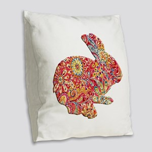 Colorful Floral Easter Bunny Burlap Throw Pillow