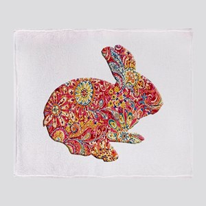 Colorful Floral Easter Bunny Throw Blanket